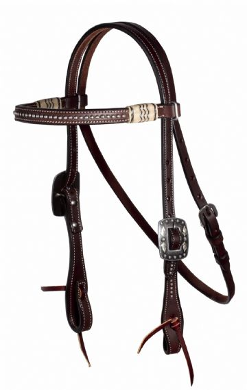 Pro Choice Schutz Brothers Natural/Black Rawhide Dotted Browband Headstall - Dark